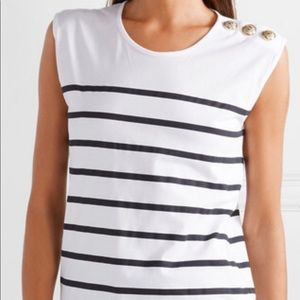 NEW Balmain button embellished striped cotton top